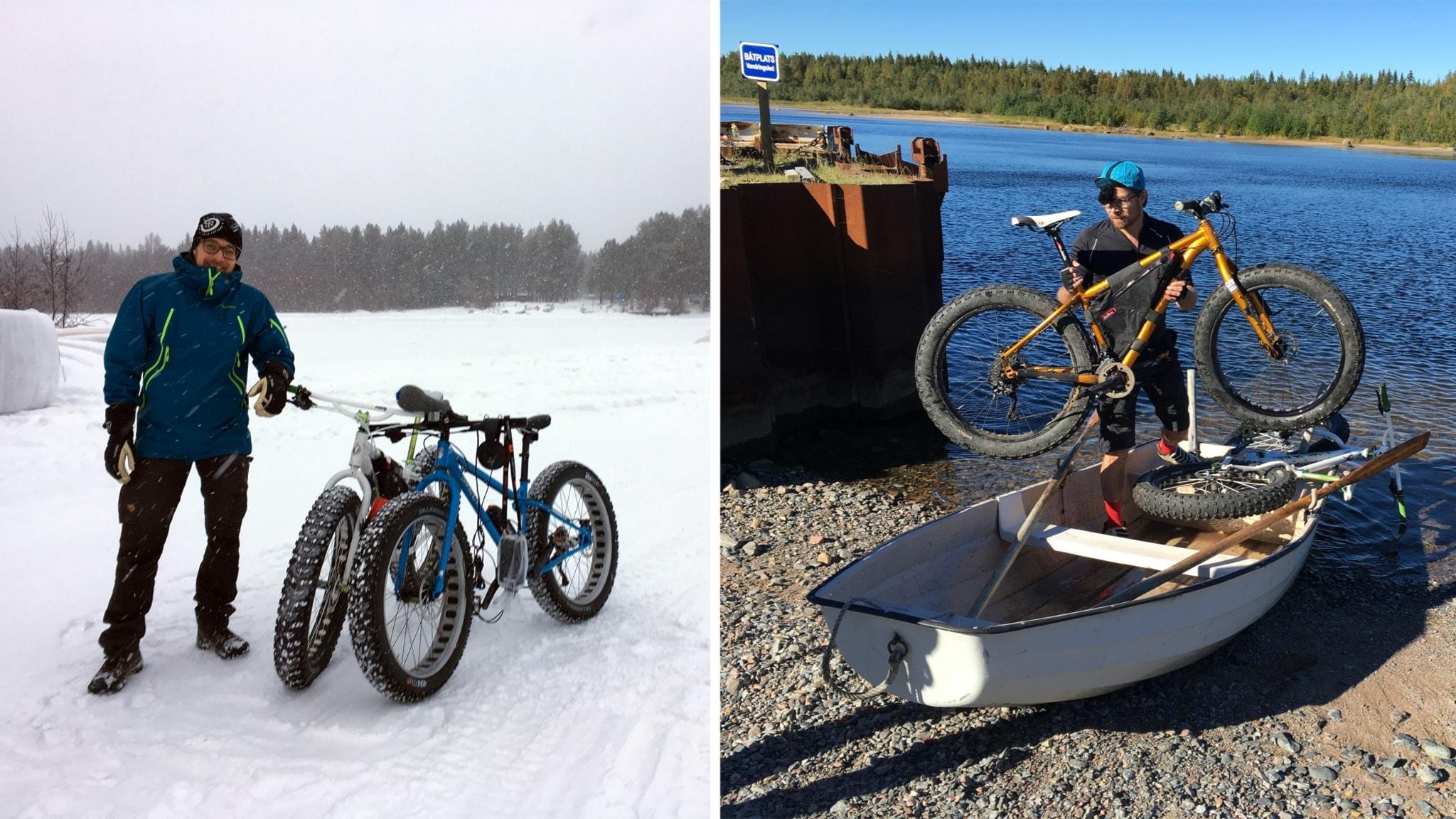 Olov Stenlund med cyklarna, på samma ställe men olika säsonger.