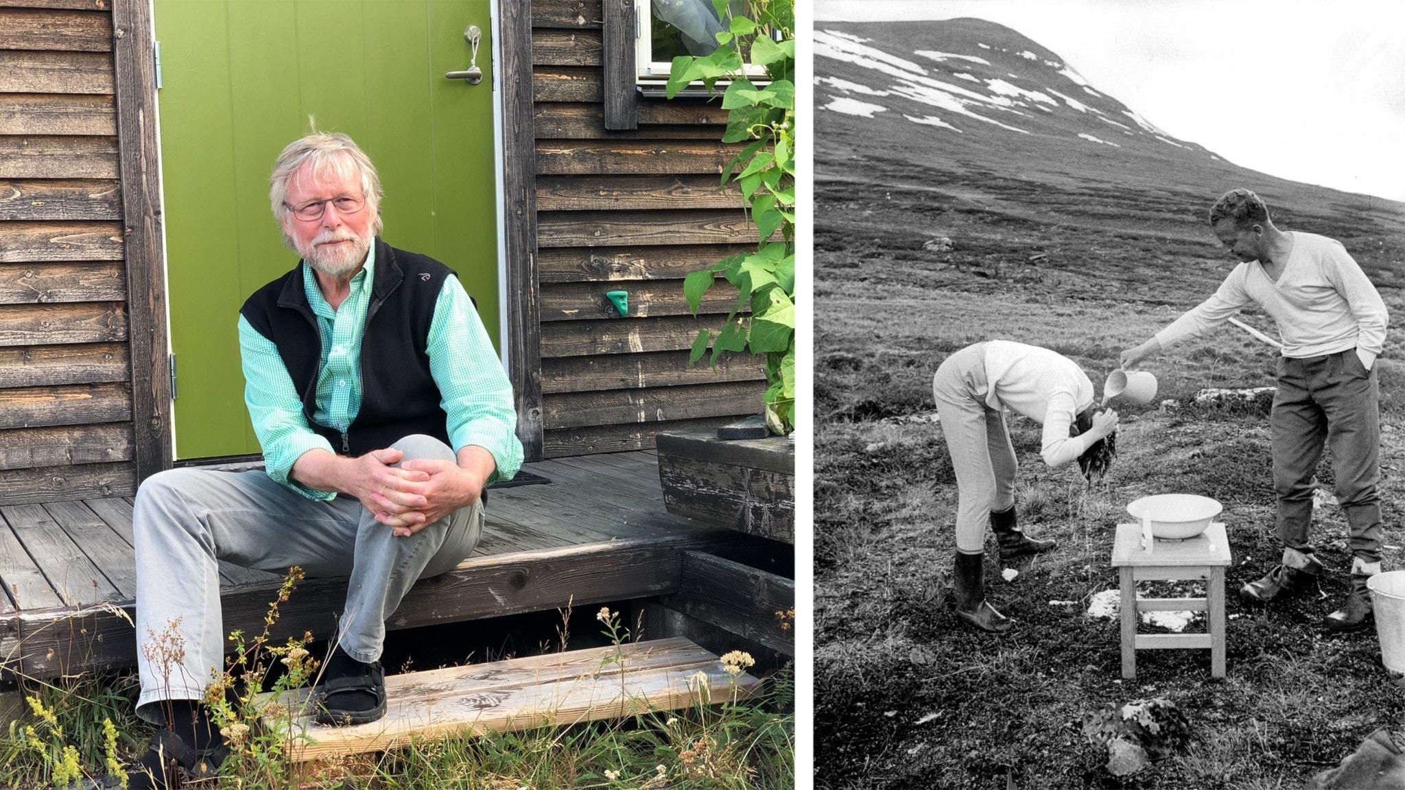 T.v Klas Sandell och t.h Gunnar Höglund från Stockholm som bjuder på gratis hårdusch vid Abiskojaure 1964.