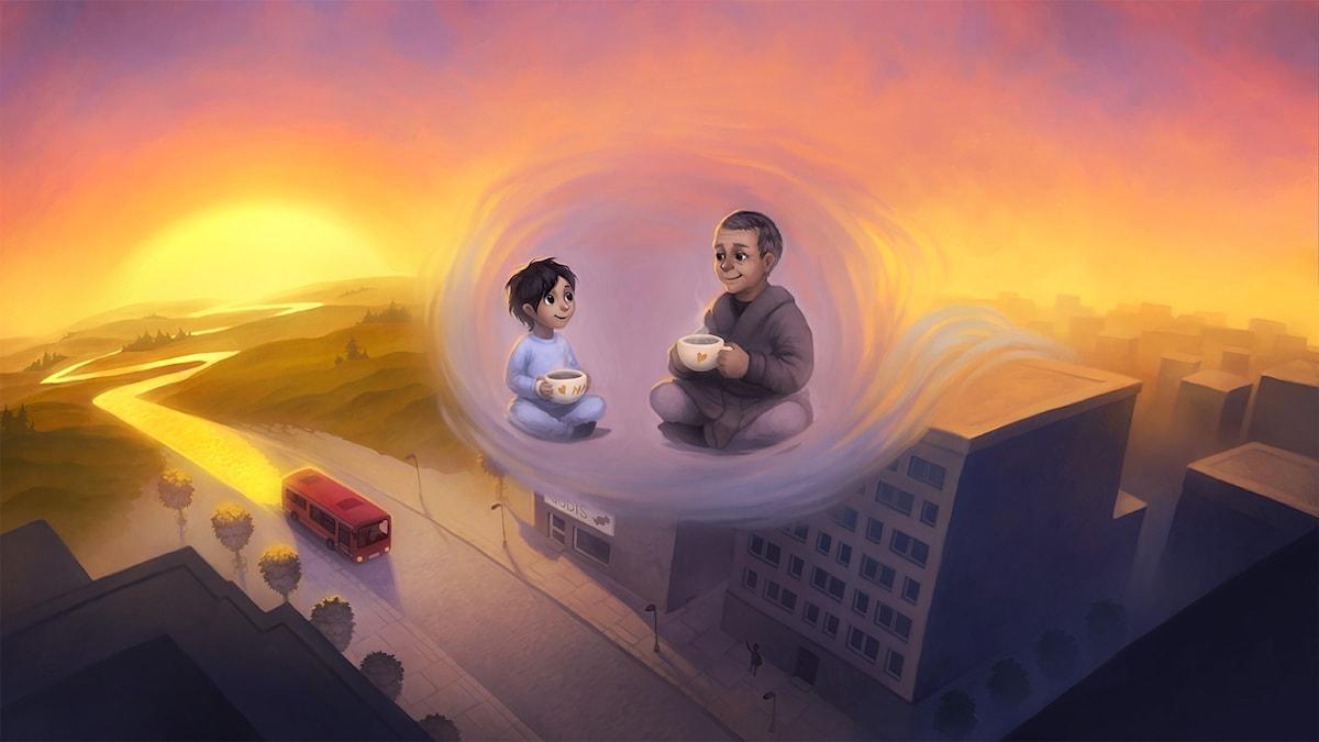Nadim och drömbussen: del 5. Illustration: Moa Wallin.