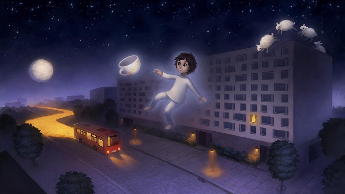 Nadim och drömbussen: del 1. Illustration: Moa Wallin.
