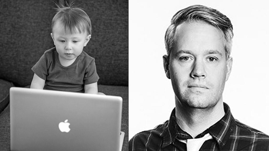 På det första fotot ser man en bebis framför en dator. På det andra fotot syns en ung man. Han är klädd i en ljus slips och en grov flanellskjorta.