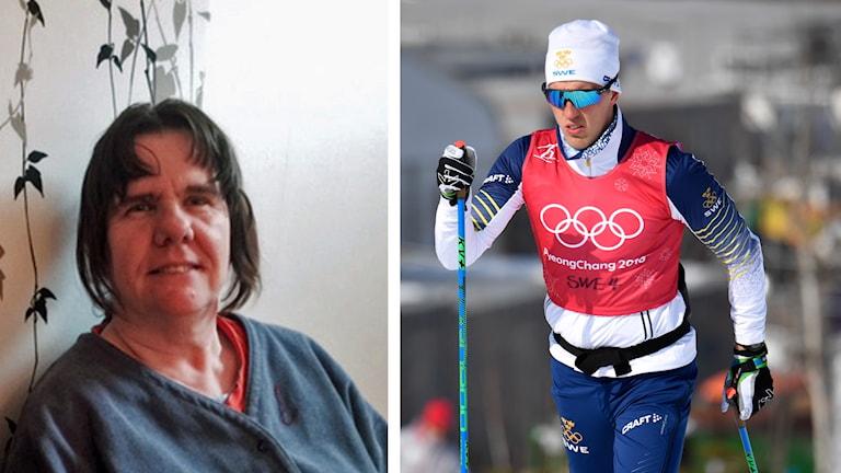 På det första fotot syns Maritha och på det andra en skidåkare.