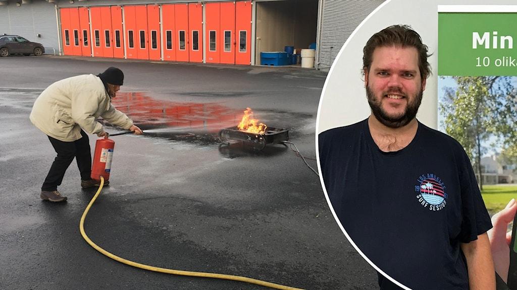 """Till vänster: En kursdeltagare övar på att släcka en brand med en brandsläckare.  Till vänster: Johan Dahrén, blev själv kursledare för """"Min Säkerhet"""" efter att han gått kursen."""