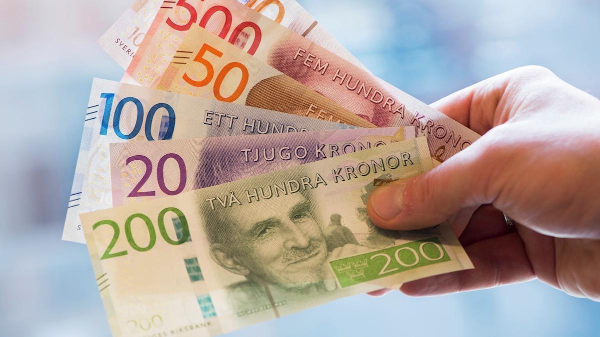 På fotot syns en hand som håller i svenska sedlar.