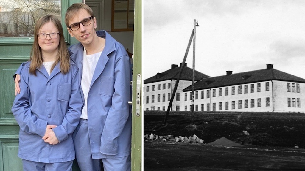 Amanda Malmberg och Isak Bruno och gammal bild på Vipeholmsanstalten.