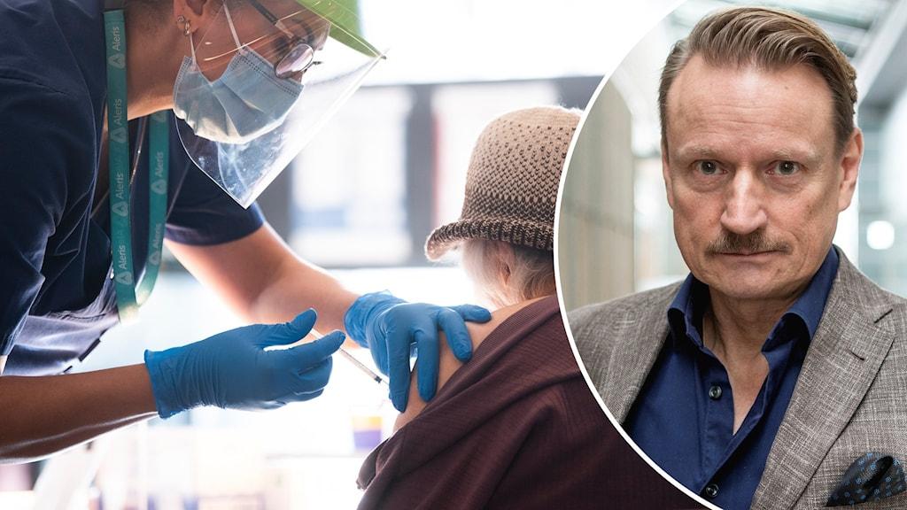 Tvådelad bild: En vaccinering mot covid-19 pågår och en bild på professorn Matti Sällberg.