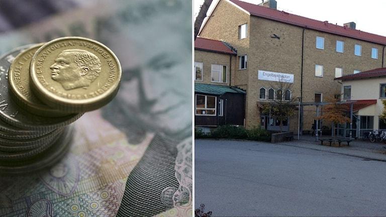 Fotot visar svenska mynt och en gul tegelbyggnad i Borås.