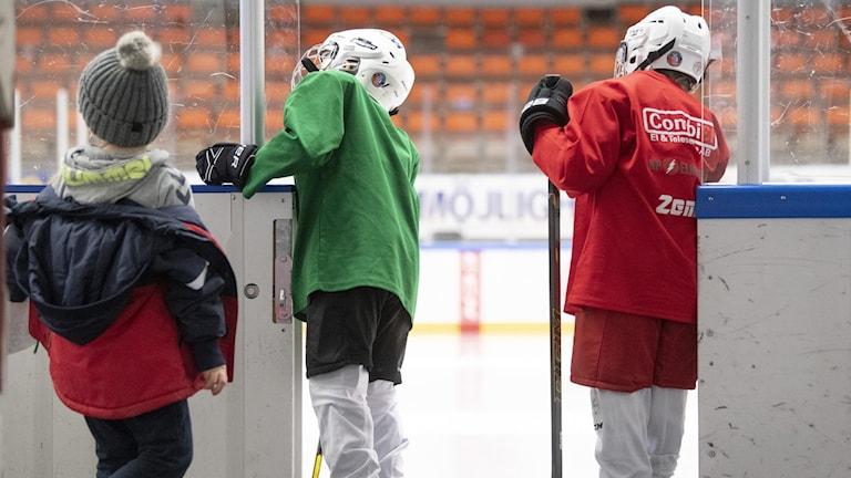 På fotot syns barn som är klädda i hockeykläder och har hjälm på huvudet. De är beredda att gå ut på isen.