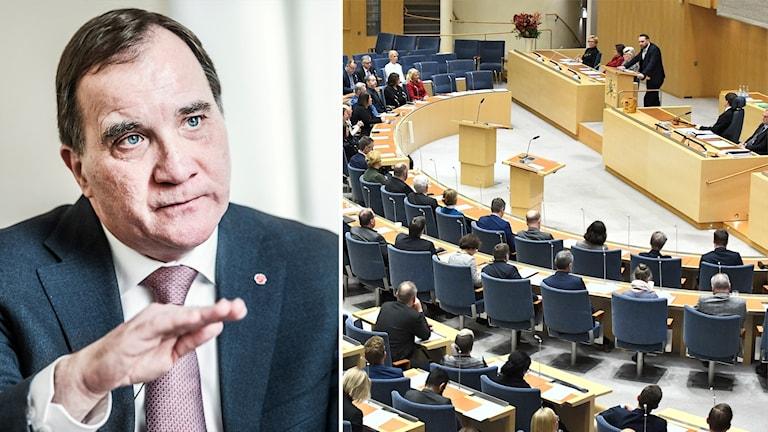 Bilden visar statsministern Stefan Löfven, och bilden till höger visar riksdagen - flera politiker sitter ner i en sal och en person pratar i mikrofon längst fram.