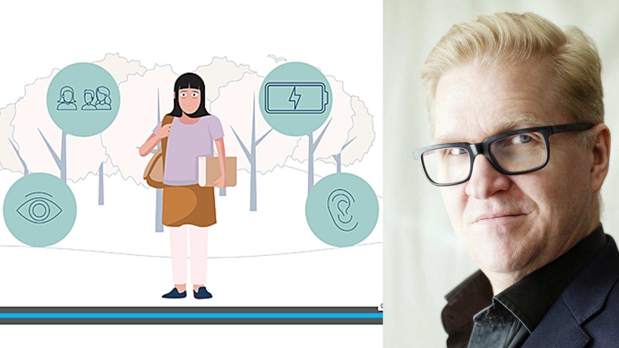 På bilden ser man en bild på en tecknad tjej med symboler omkring sig. Man ser också en annan bild med en man som har glasögon.