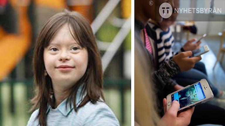 Mélanie Ségard har halvlångt hår. Bredvid henne finns en bild på unga som använder Facebook i mobiltelefon.