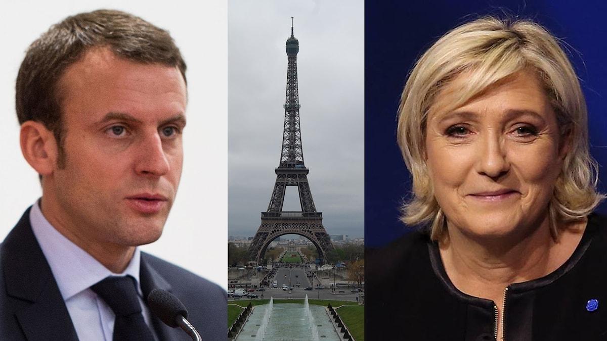 Två av politikerna i franska presidentvalet är Emmanuel Macron och Marine Le Pen. På bilden är också Eiffeltornet i huvudstaden Paris.