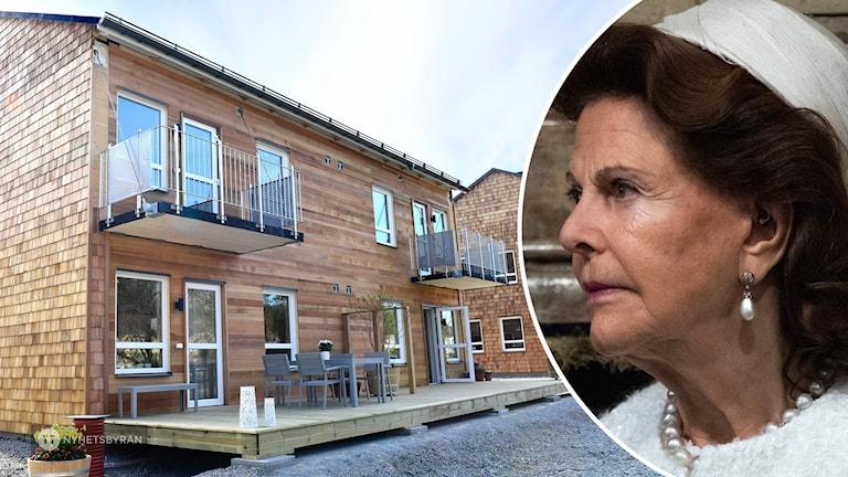 På fotot syns hus som är byggda i trä och gult tegel. På det andra fotot syns drottning Silvia. Hon är klädd i en vit dräkt och har en vit hatt.