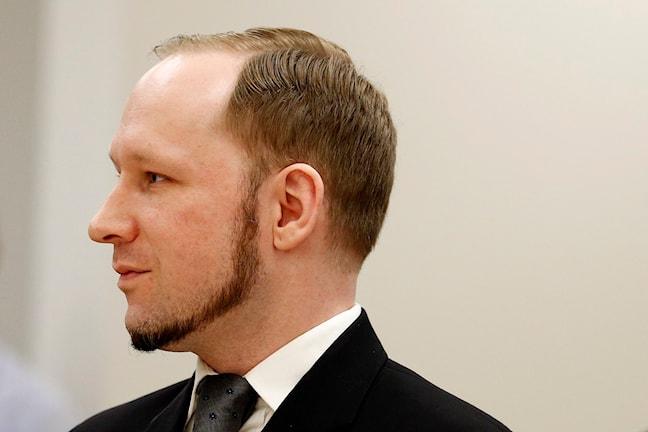 Breivik har sparat skägg längs med kinden och hakan, men han har ingen mustasch.