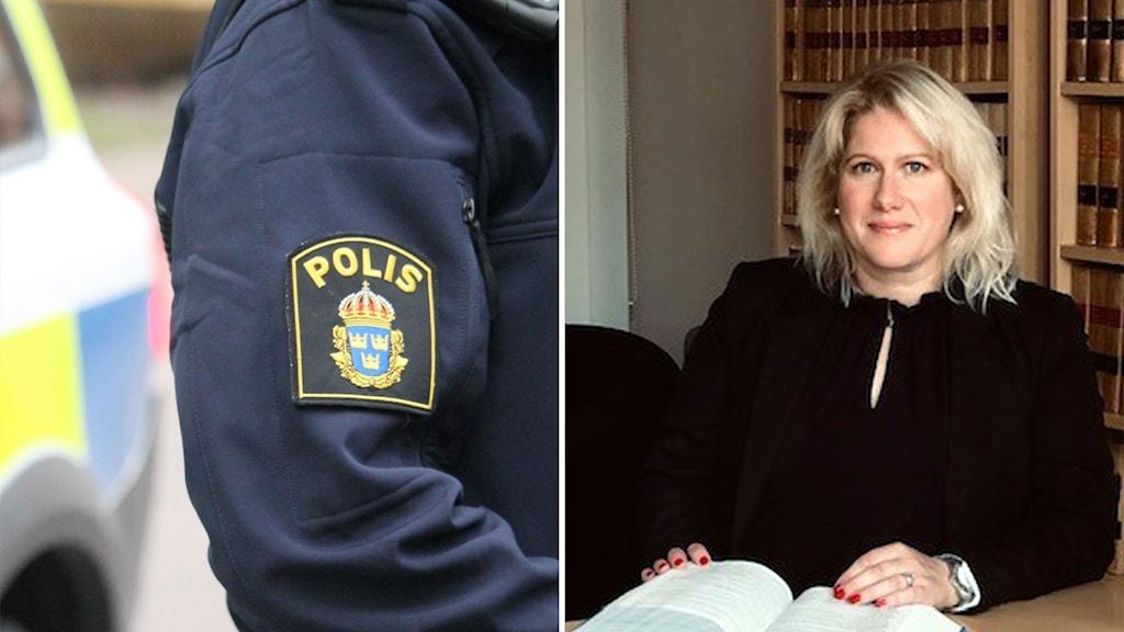 Till höger en polis i uniform, man ser endast armen och ett sytt emblen. Till höger i bild advokat Ulrika Wangle, en yngre kvinna som sitter med många gamla böcker bakom sig på en hylla, hon har blont hår, och händerna på en uppslagen bok på ett bord framför sig. Hon bär ett svart plagg.