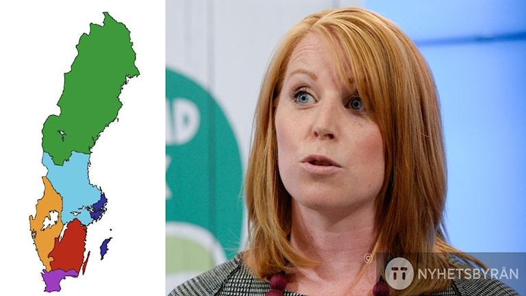 Kartan visar ett förslag till nya regioner. Du ser också Centerpartiets ledare Annie Lööf.