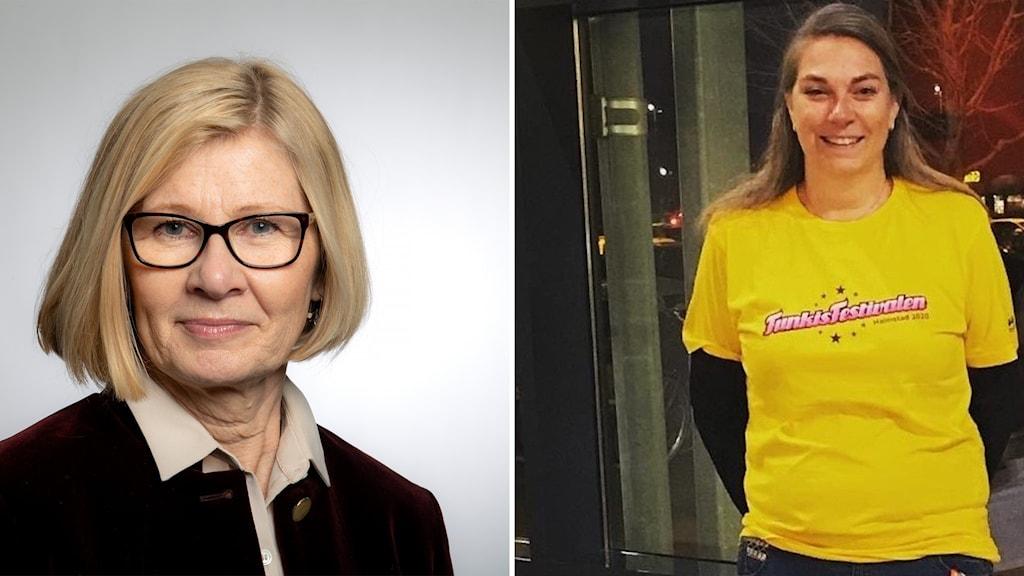 På bilden syns två kvinnor. Till vänster en blond kvinna med glasögon och mörk kavaj, till höger en kvinna med brunt hår i gul t-shirt.