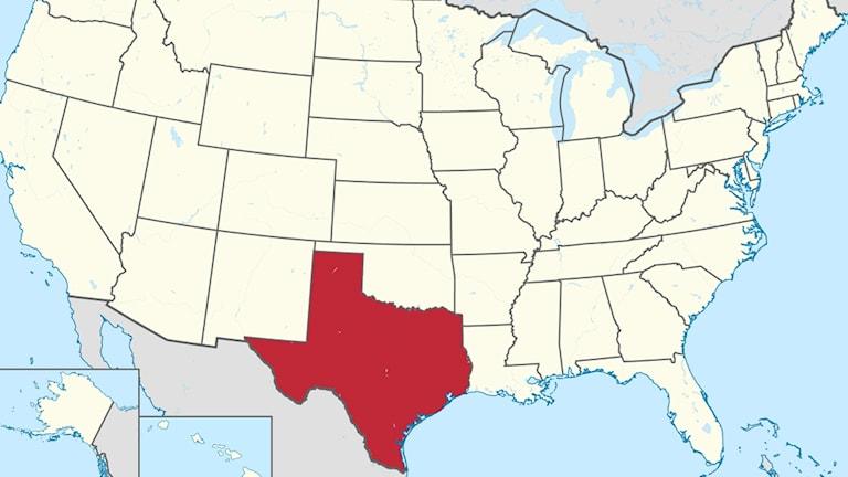 En karta över USA där det rödmarkerade området är Texas