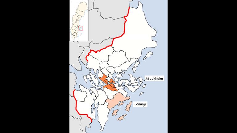 Haninge ligger söder om Stockholm
