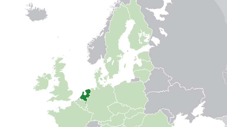 Nederländerna ligger ungefär mitt i EU.