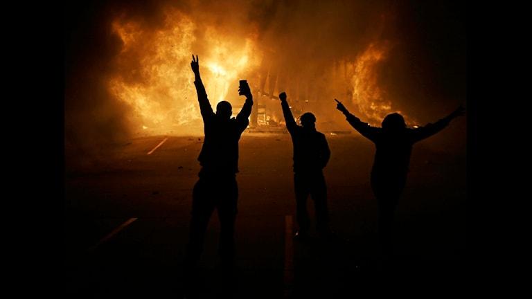 Några demonstranter i Ferguson tittar på när en butik brinner ned i bråken.