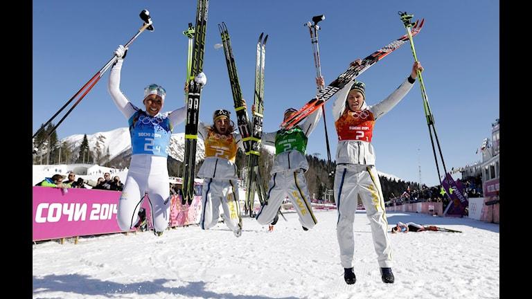 Die schwedische Staffel: Ida Ingemarsdotter, Emma Wiken, Anna Haag und Charlotte Kalla (Foto: Kirsty Wigglesworth/TT)
