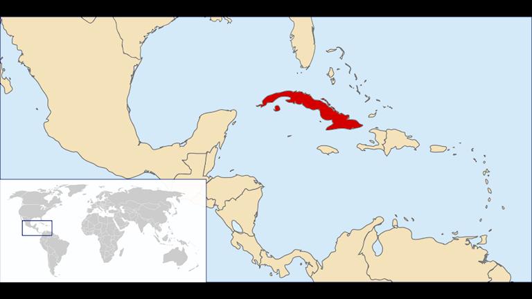 Kuba är en stor ö söder om den amerikanska delstaten Florida.