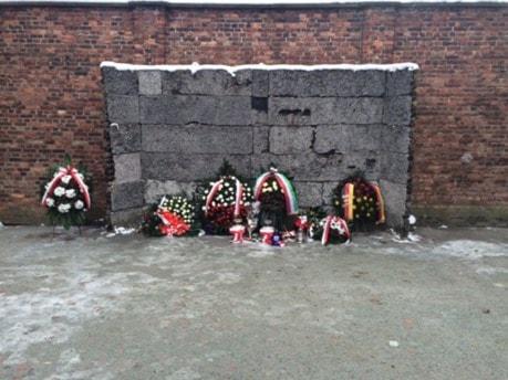 Blomsterkransar står mot en mur.