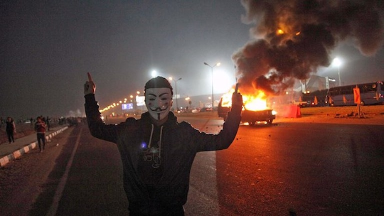 fotbollssupporter vid bråk i Kairo