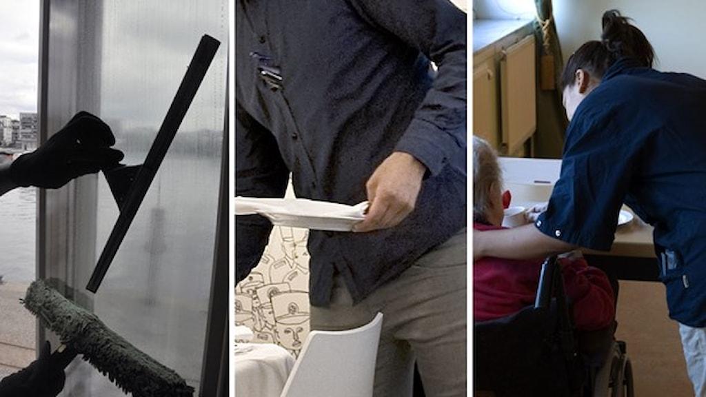En fönsterskrapa, i mitten är det en man med en tallrik och bilden till höger en vårdtjej som hjälper en man i rullstol.Foto: Hasse Holmberg/TT, Karin Grip/TT samt Henrik Montgomery/TT.