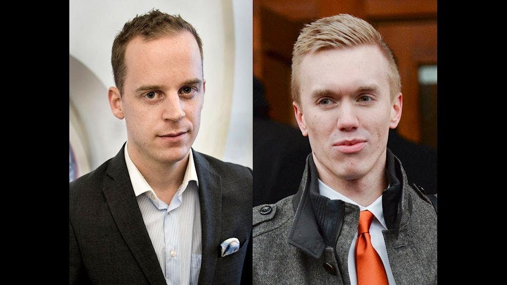 Båda är unga män med kortklippta frisyrer.