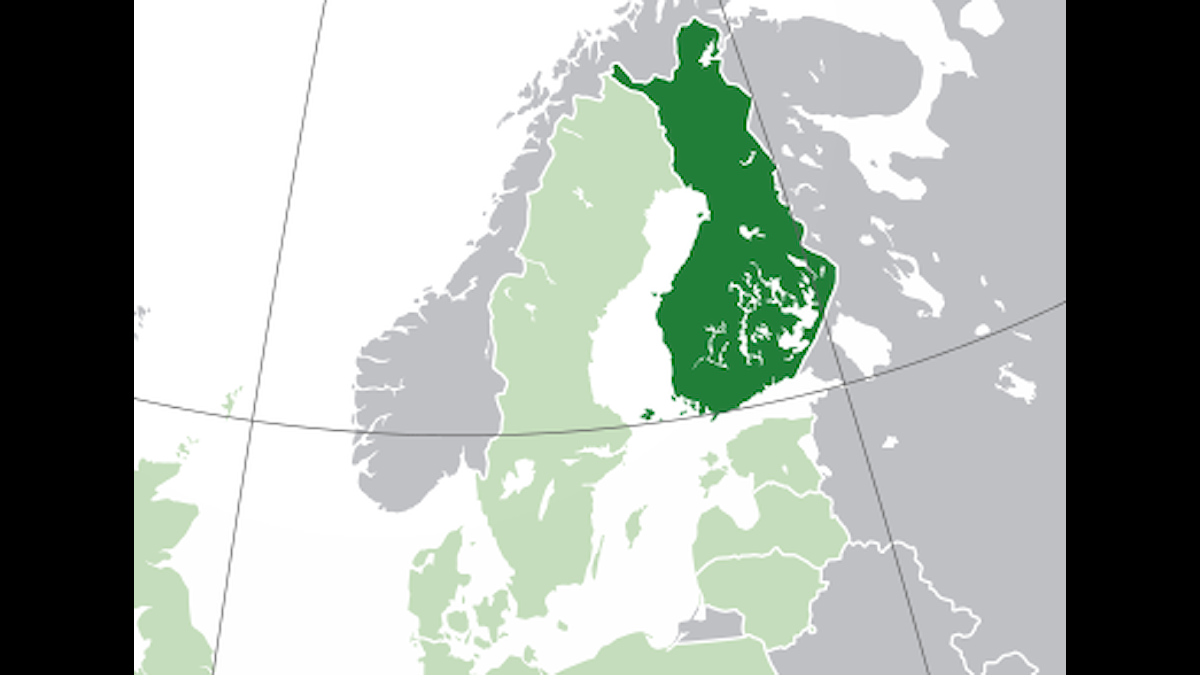 Suomi kartalla tummanvihreällä merkattuna