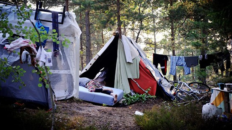 En del tiggare bor i tält ute i skogen