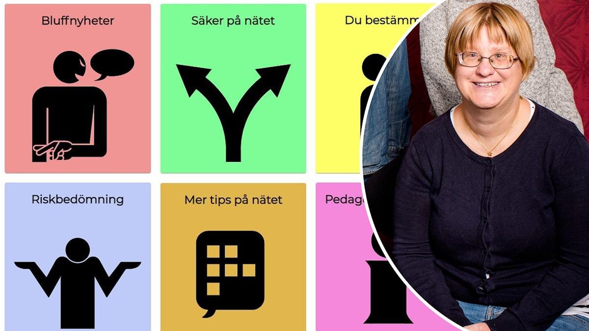 Bild från Nätsäkra och infälld bild på Kristin Petersson. Hon har mörkblont hår och glasögon och ser glad ut på bilden.