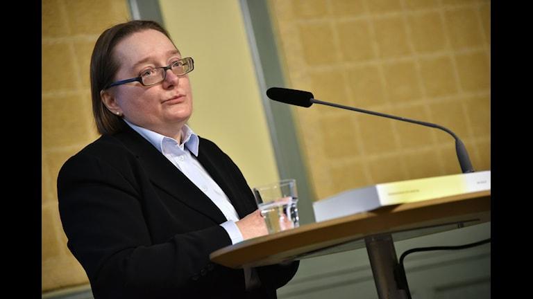 Anita Wickström på presskonferensen idag.