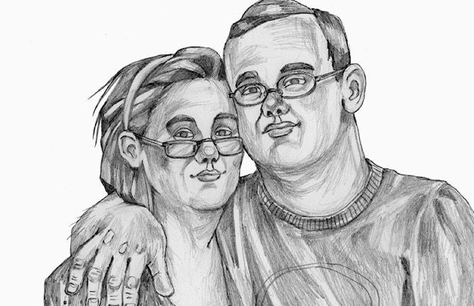 En teckning med en man och en kvinna som håller om varandra