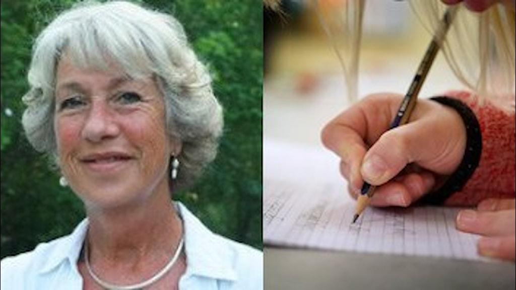 Cecilia Olsson + elev som skriver