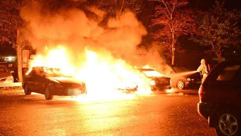 Flera bilar i Norrköping brann upp helt