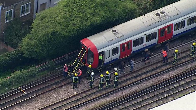 Tunnelbanetåget i London som en explosion inträffade på under fredagen.