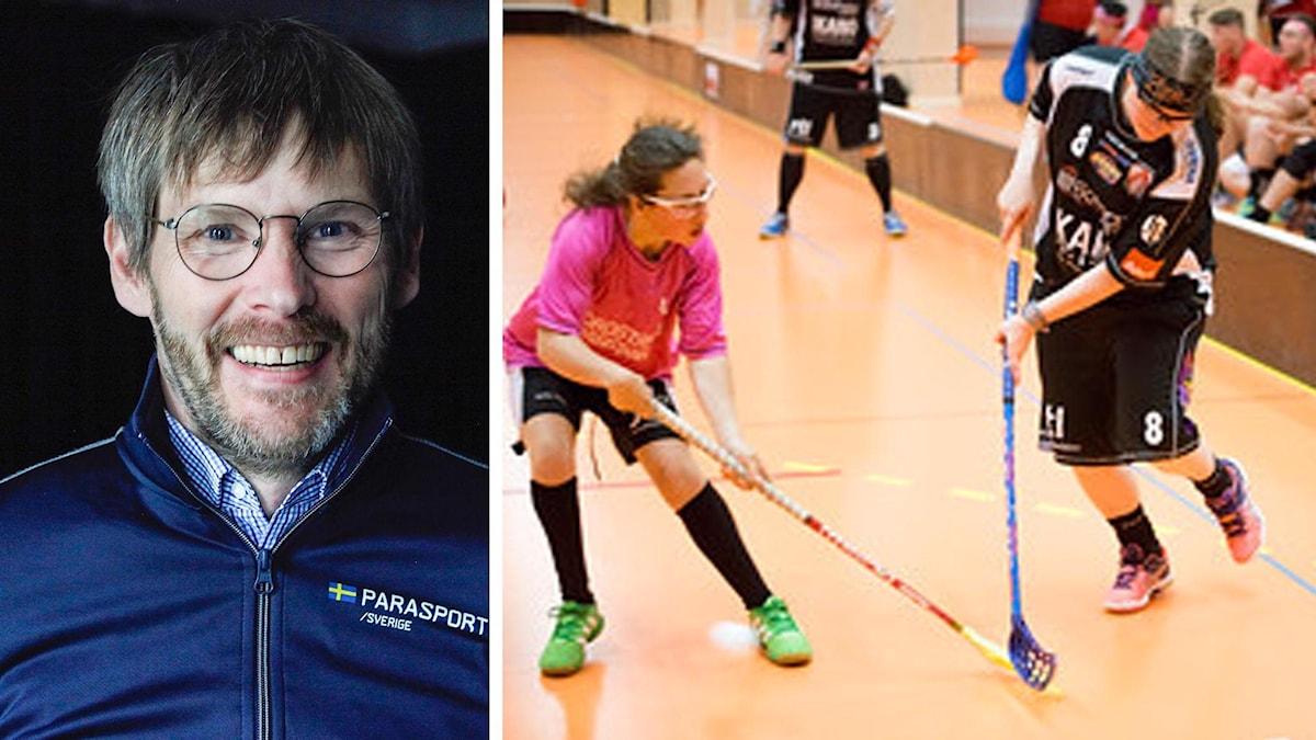 På bilder ser man Johan Strid, som är generalsekreterare i Parasportförbundet, och några ungdomar som spelar innebandy.
