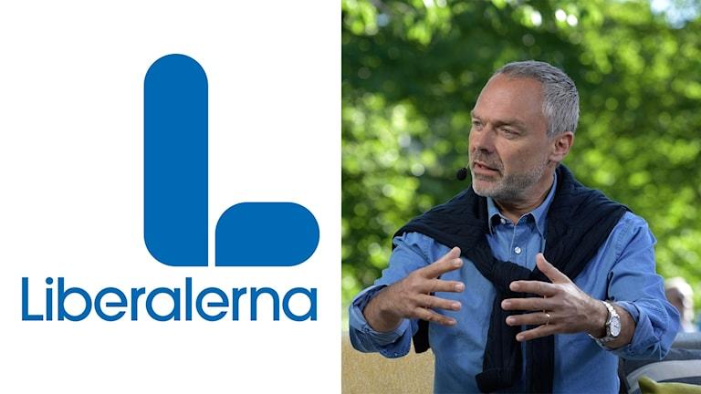 På bilden ser man ett stort blått L och ett foto på partiledaren Jan Björklund. Han har skäggstubb och grått hår.