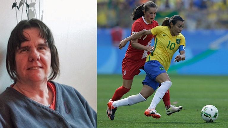 Maritha är klädd i vanliga kläder. Marta har kontroll på bollen och tränger undan en annan spelare.