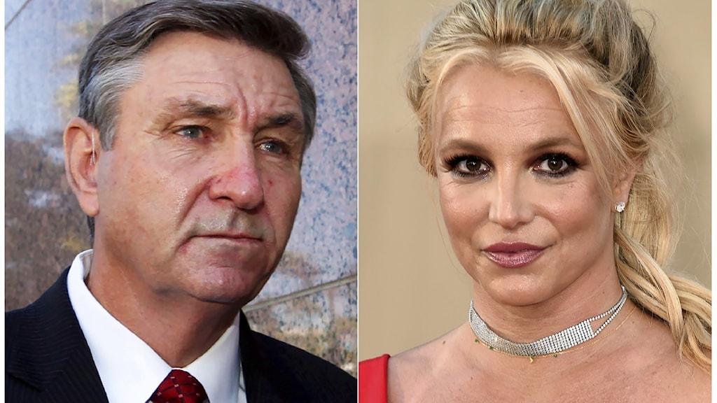 På det ena fotot syns Jamie Spears. Han är klädd i slips och kostym. På det andra fotot syns Britney Spears. Hon är blond och mörkt sminkad runt ögonen.
