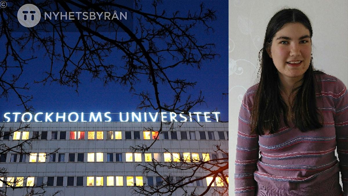 Till höger syns Stockholms universitet. Det är ett modernt fyrkantigt hus. Bilden är tagen på natten