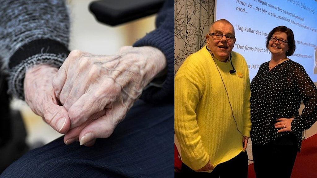 Till vänster: Två äldre människors händer. Till höger: Conny Bergqvist och Kia Mundebo.