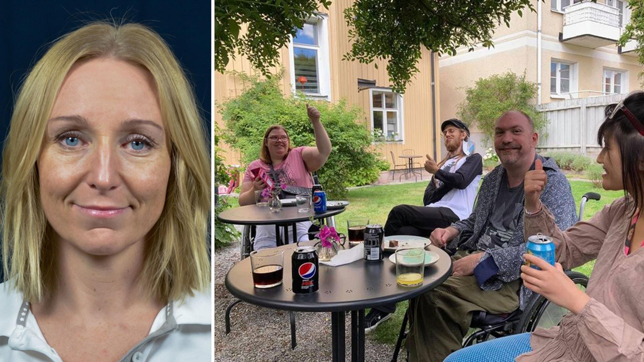 Emma Rosén till vänster, ett porträtt, blond kvinna med axellångt hår. Till höger fyra personer som sitter utomhus och fikar under träd. De ler mot kameran och visar tummen upp.