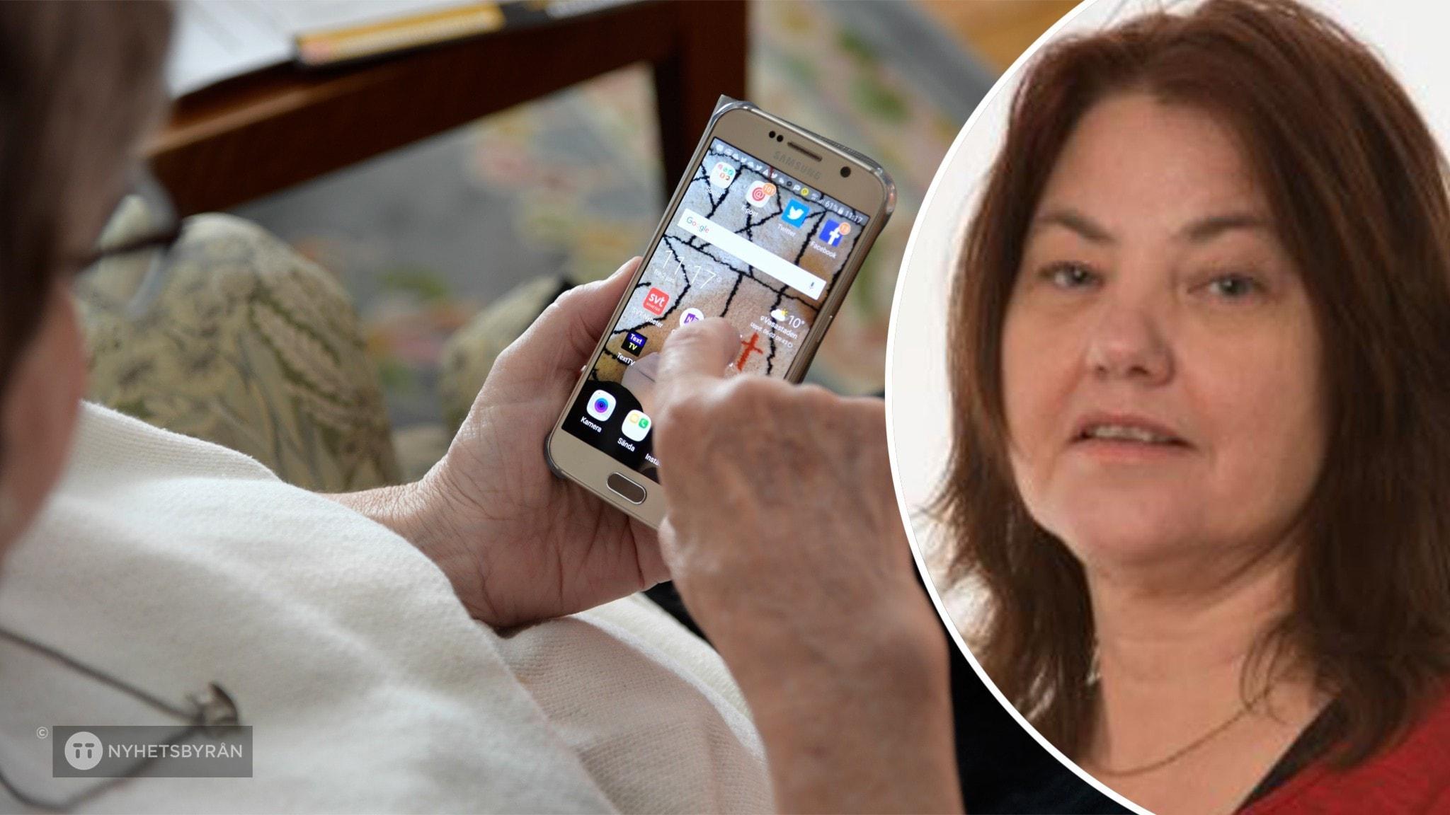 På det stora fotot syns en äldre kvinna som håller på med sin mobiltelefon. På det lilla fotot syns Linda Reneland-Forsman. Hon har brunt hår.