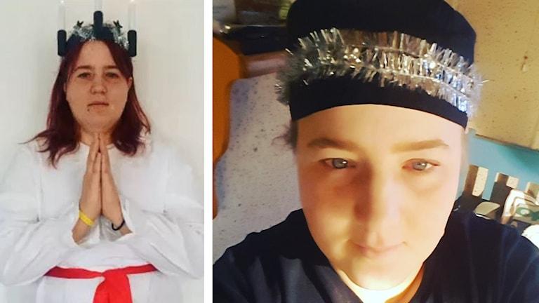 På det ena fotot är Emma klädd i Lucia-kläder och på det andra har hon glitter i håret.