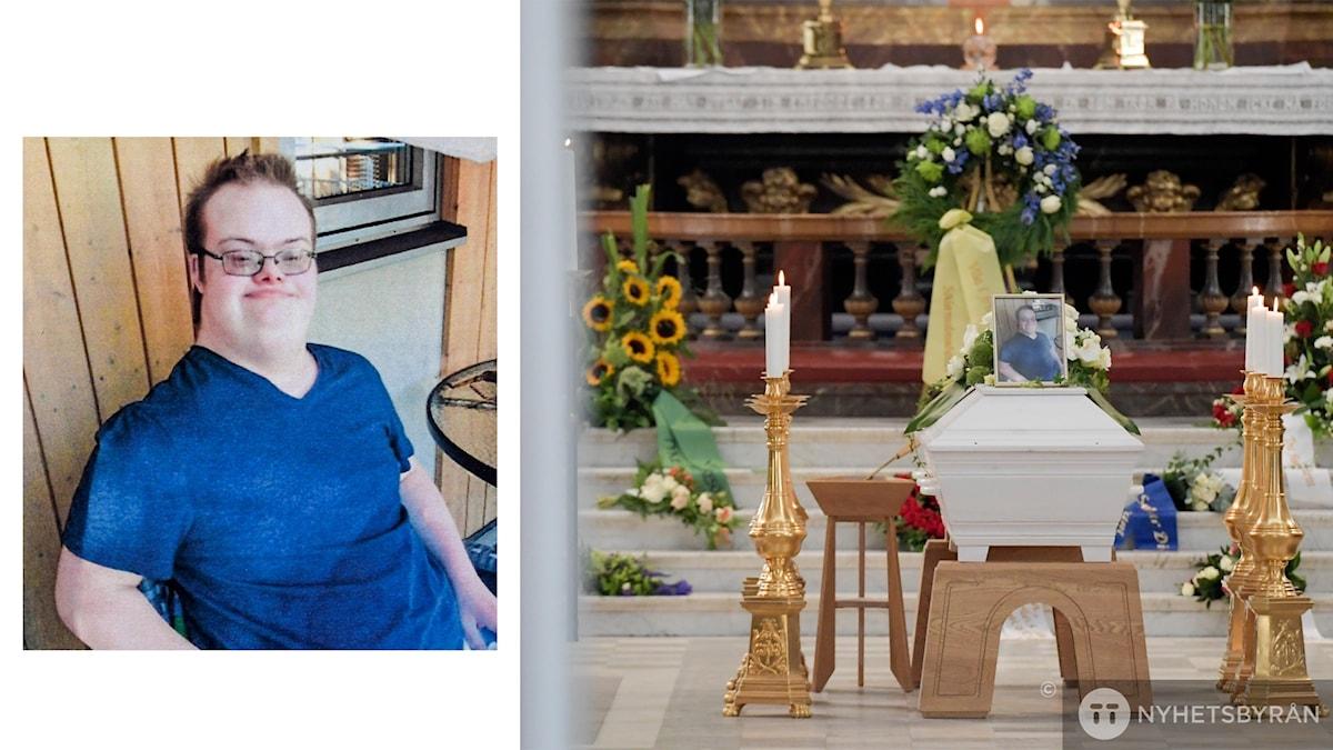 På det ena fotot ser man Eric. Det syns att han har Downs syndrom. På det andra fotot ser man kistan inne i kyrkan.