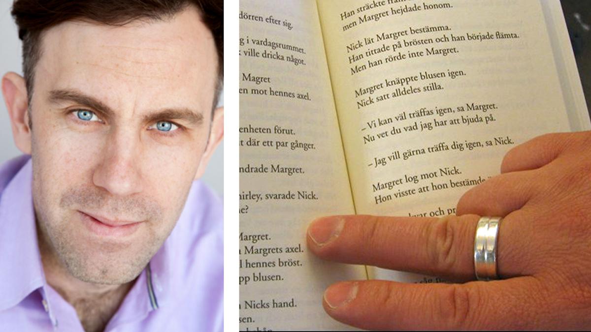 På fotot till vänster syns Richard Herold. Han är klädd i en ljuslila skjorta och har< skäggstubb. På fotot till vänster syns en sida ur en lättläst bok.